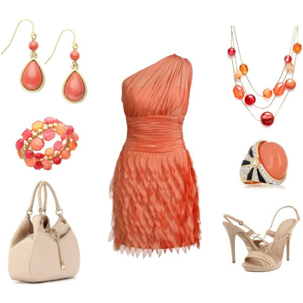 LOVE coral <3: Coral Dresses Outfits, Nude, Gold Outfits, Coral Colors, Coral Outfits, The Dress, Coral Dress Outfits