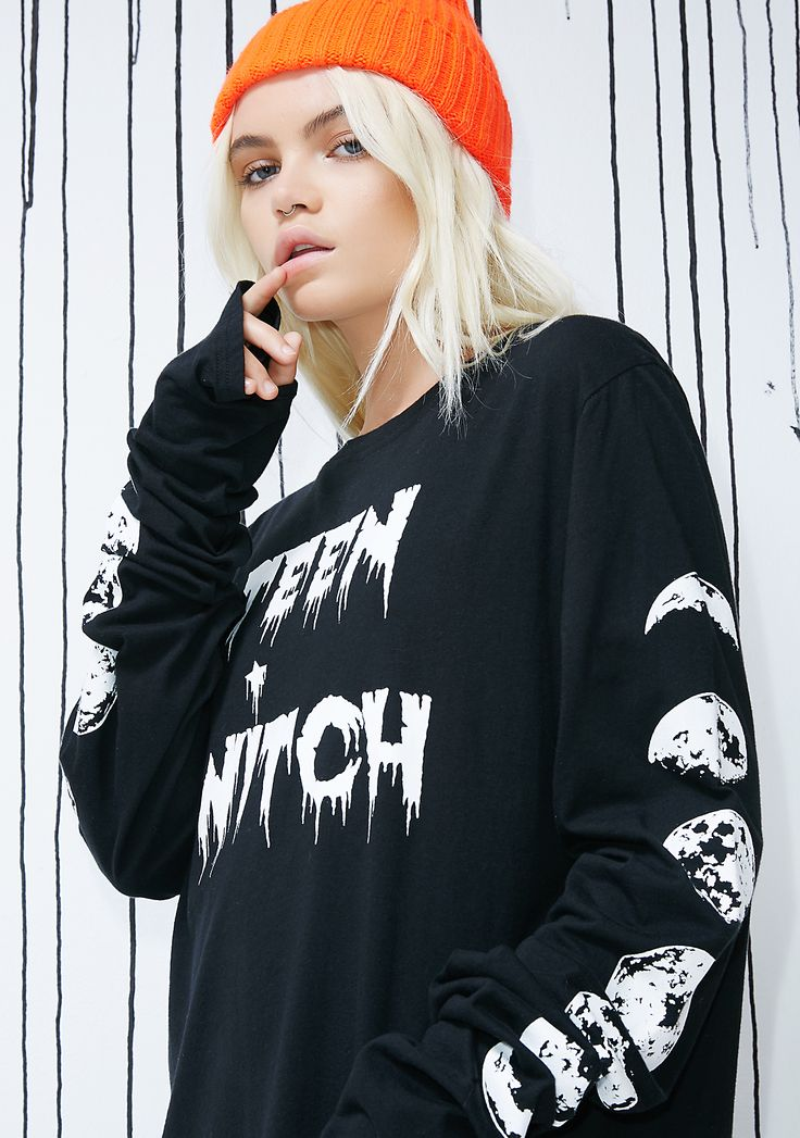 "Dolls Kill Teen Witch Long Sleeve Tee cuz you're still perfecting your craft. This black N' white tee says ""TEEN WITCH"" on the front and has exxxtra long sleeves with moon graphics all on the side.  #dollskill #halloween #sexycostume #cutecostume #easycostume #scarycostume #costume #diy #inspo #holloweeninspo #popculture #popculturecostume #2017costume"