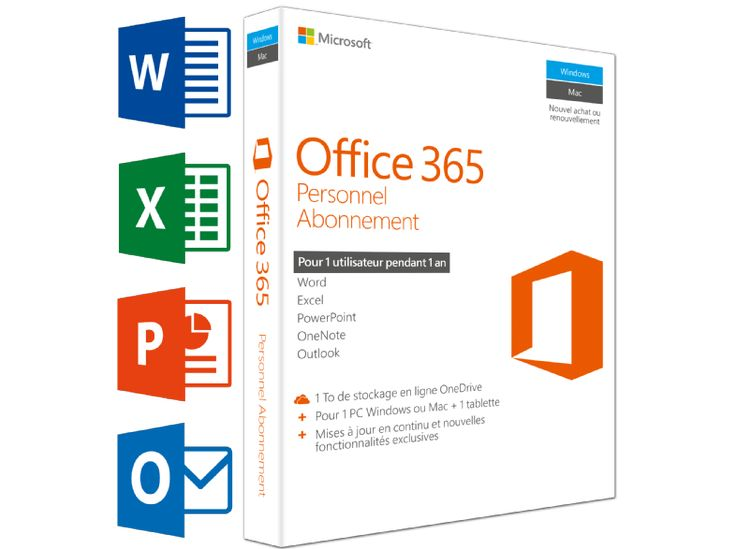 cool MICROSOFT SW Office 365 Personnel (FR)   1 PC ou Mac + 1 tablette + 1 smartphone chez Media Markt