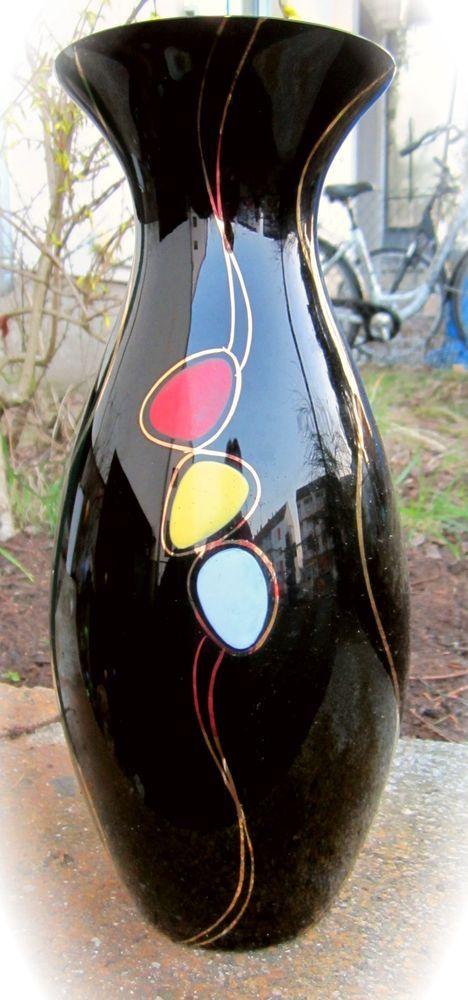 Traumsch ne vintage vase schwarzes glas handbemalt ilmenau for Schwarzes glas