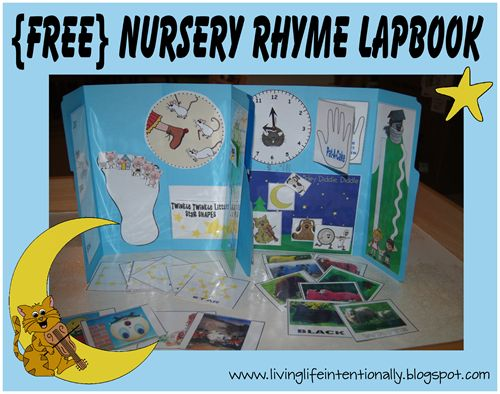 {free} Nursery Rhymes Lapbook - interactive activites to reinforce 11 nursery rhymes with kids 2-5 years old
