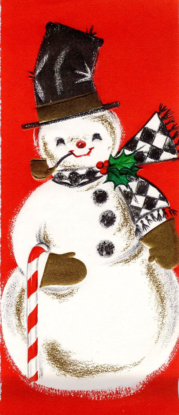 Christmas vintage greeting card with snowman