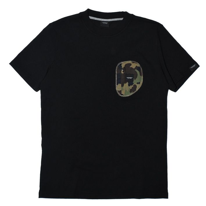 Camo Zip Pocket Tee - Black