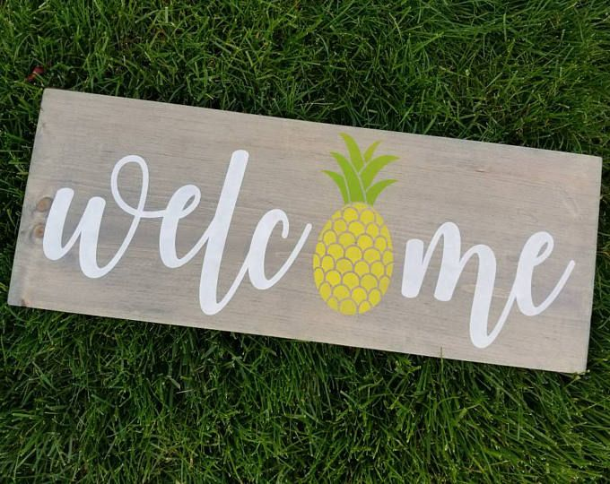 Pineapple Decor Pineapple Sign Welcome Sign Summer Sign
