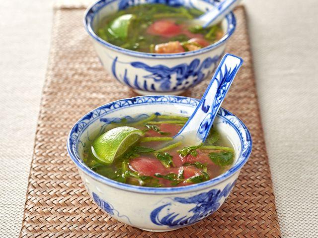 フレッシュでさわやかな味わいのスープです。暑い日には冷たく冷やすのもおすすめです。