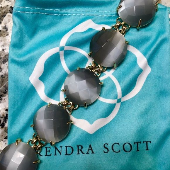 Kendra Scott bracelet Beautiful iridescent grey Kendra Scott bracelet. Receive a ton of complements when you add this statement piece to any outfit. Goes well with everything Kendra Scott Jewelry Bracelets
