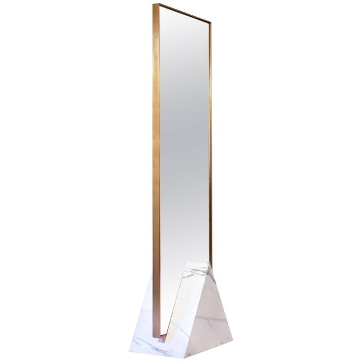 Coexist Tri Standing Mirror with Marble and Brass by Slash Objects, USA | From a unique collection of antique and modern floor mirrors and full-length mirrors at https://www.1stdibs.com/furniture/mirrors/floor-mirrors-full-length-mirrors/