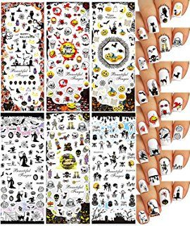 Halloween Acqua Trasferimento Tatuaggio Decalcomanie Unghie ♥ Grande Varietà ♥ 6 - Pacchetto// Halloween Nail Art Water Slide Tattoo Stickers Decals ♥ Great Variety - Pack of 6