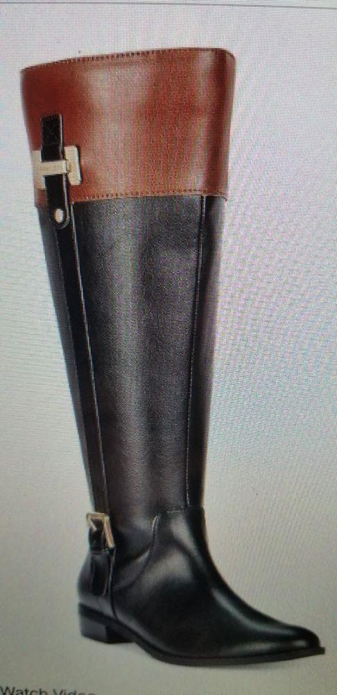 Karen Scott Deliee Riding Stiefel schwarz Größe 6M schwarz Stiefel  Cognac Braun Zipper ... 1346c1