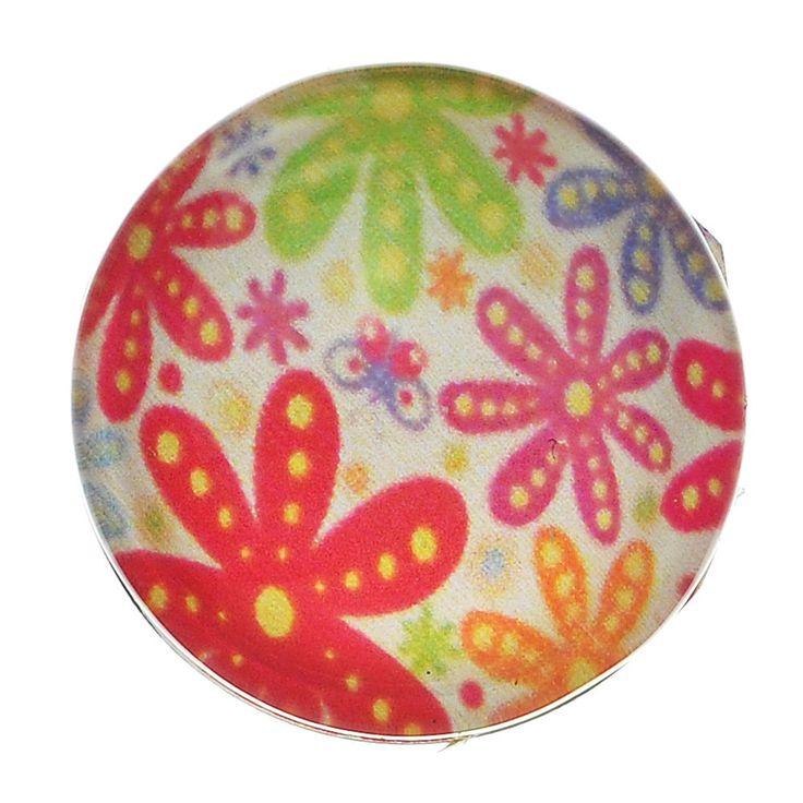 Glass Snap Button Jewel Chunk  Round Multicolour Flower Pattern 1Pc