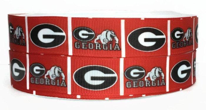 7/8 inch Grosgrain Georgia Bulldogs Ribbon, Grosgrain by the Yard, Bulldogs Ribbon, Sport Ribbon, Ribbon By The Yard by KC Elastic Ties