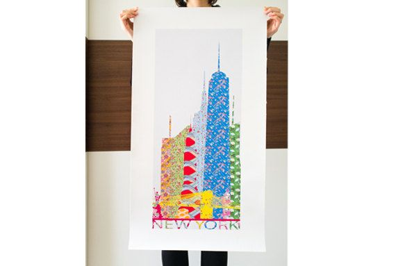 New York -Illustration graphic Printed -Skyline Secondo Natura -NY -Big Apple- USA- Multicolour -Flowers -Chrysler Building- Empire- One WTC