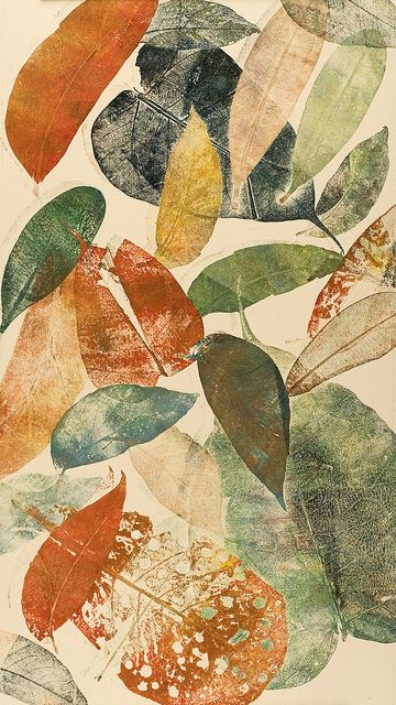 Autumn leaf I by Mariann Johansen Ellis :: a monoprint/monotype printed with