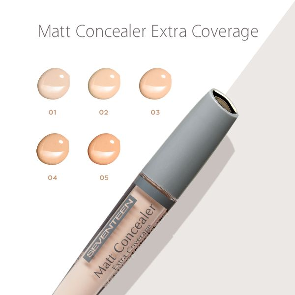 Matt Concealer Extra Coverage | Seventeen Cosmetics No more dark circles and bags under the eyes with Matt Concealer Extra Coverage! #Seventeen #cosmetics #makeup #eyes #concealer