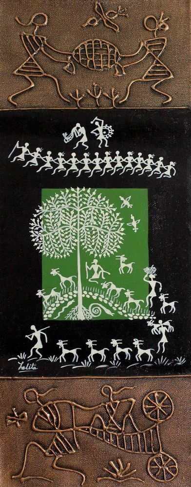 Original Warli Painting Folk Art Acrylic 'Shelter at Noon' NOVICA India