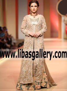 Splendorous Camel Dianthus Wedding Dress with A-line Lehenga features Grandiose floral Embroidery for Special Occasions and Wedding - Be the first to get your hands on this stunning embellished dress from Rizwan Ahmed QHBCW 2017 #shoppingonline #UK #USA #Canada #Australia #France #Germany #SaudiArabia #Dubai #UAE #Bahrain #Kuwait #Norway #Sweden #NewZealand #Austria #Switzerland #Denmark #Ireland #Mauritius #Netherlands #easternoutfit #newstyle #newdesign #newarrival #trend #fall2017