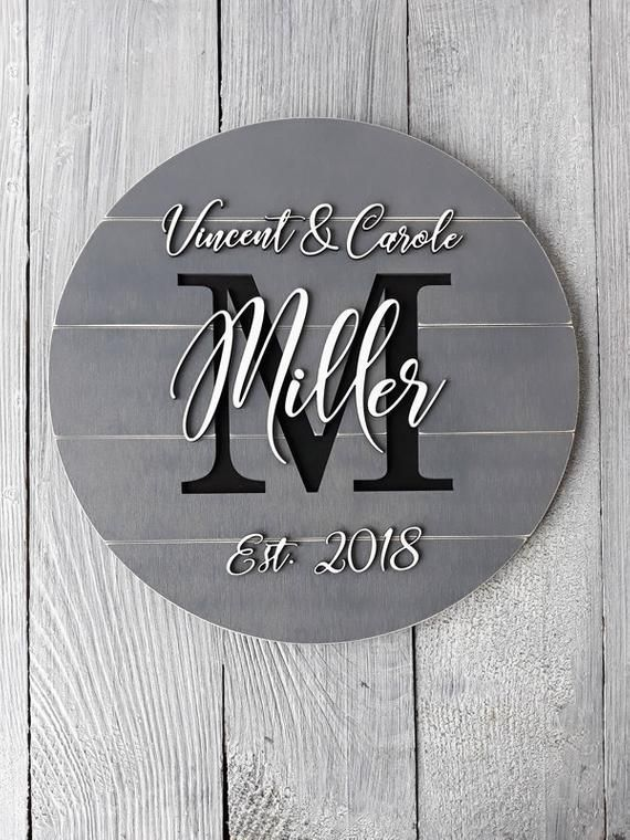 """Wooden Monogram /""""Family/"""" Plaque Beautiful Gift Free Shipping"""
