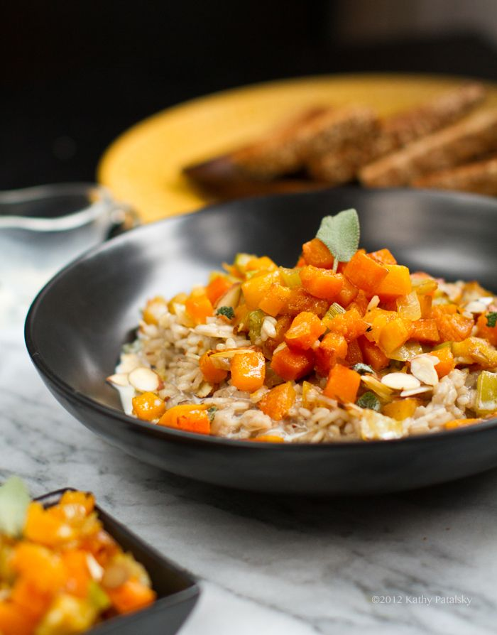 Butternut Squash Risotto. Sage. Almonds. 1 c arborio rice 3+ cups of