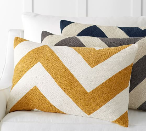 Pottery Barn Decorative Bed Pillows : Chevron Crewel Embroidered Lumbar Pillow Cover Pottery Barn pillows Pinterest Barn ...
