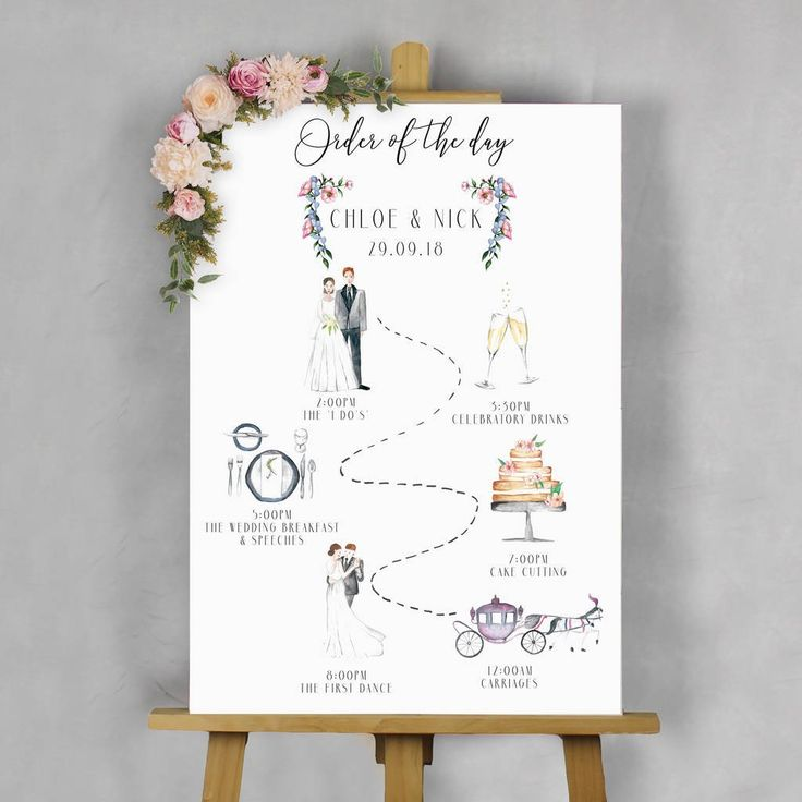 Illustrated Wedding 'Order Of The Day' Sign