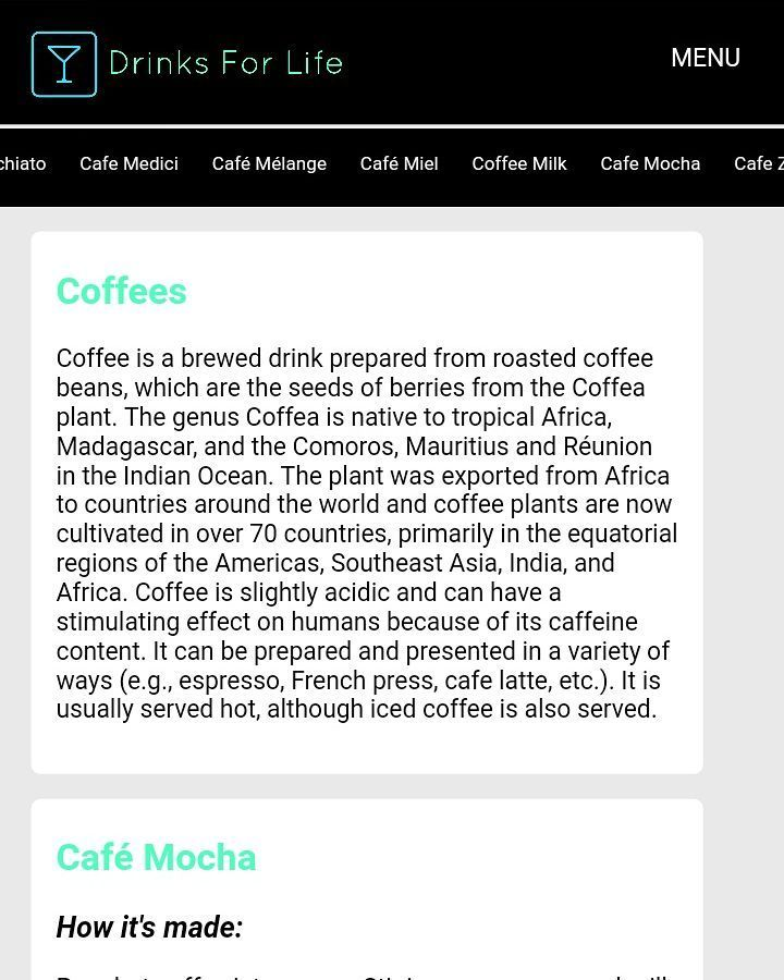 finally the coffee page is done with almost every type of coffee. :D for visiting the website check the link in bio.