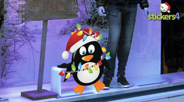 Christmas penguin with christmas lights window decal for christmas windows new 2014 new stickers4 christmas