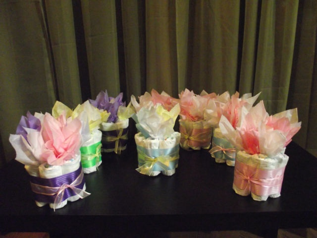 Mini diaper cake 1tier baby shower gift decoration center for Baby shower decoration diaper cake
