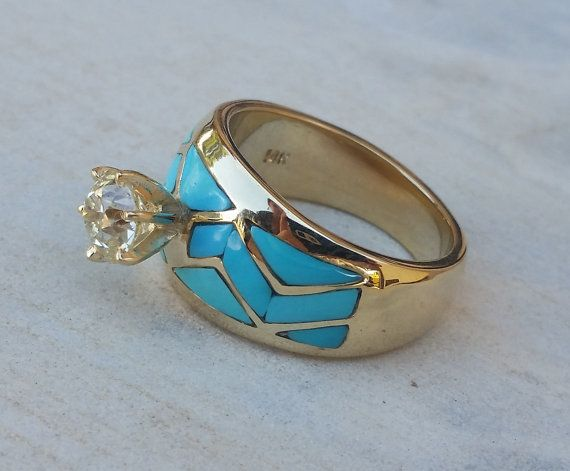 Hey, I found this really awesome Etsy listing at https://www.etsy.com/listing/239248299/turquoise-inlay-1-karat-old-european-cut