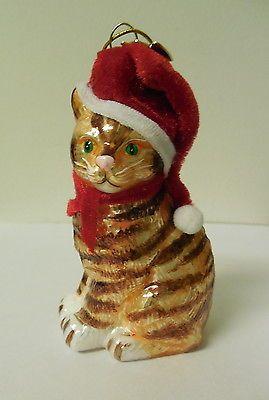 STRIPED TABBY KITTY CAT GLASS CHRISTMAS ORNAMENT KURT ADLER NEW IN BOX