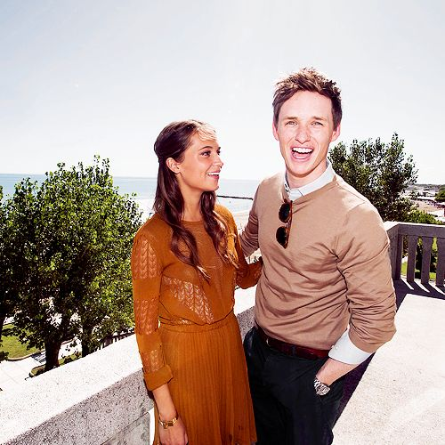 Eddie Redmayne and Alicia Vikander at the HFPA luncheon for The Danish Girl