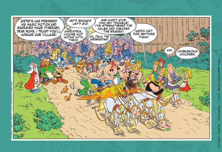 Two Panels From New Asterix Comic 'Asterix And The Chariot Race'