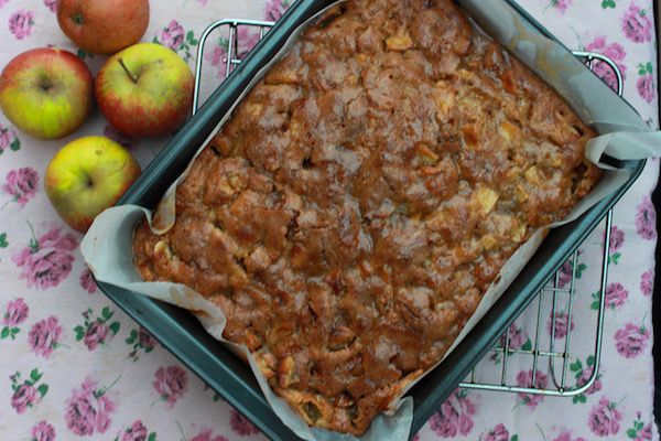 Sweet Garam Masala spiced apple cake covered in caramel sauce. The Sweet Masala adds a wonderful aromatic to this perfect recipe for autumn.
