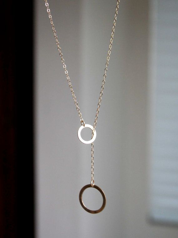 Gold Ring Ring Lariat Necklace - unique modern minimalist jewelry, delicate lariat jewelry