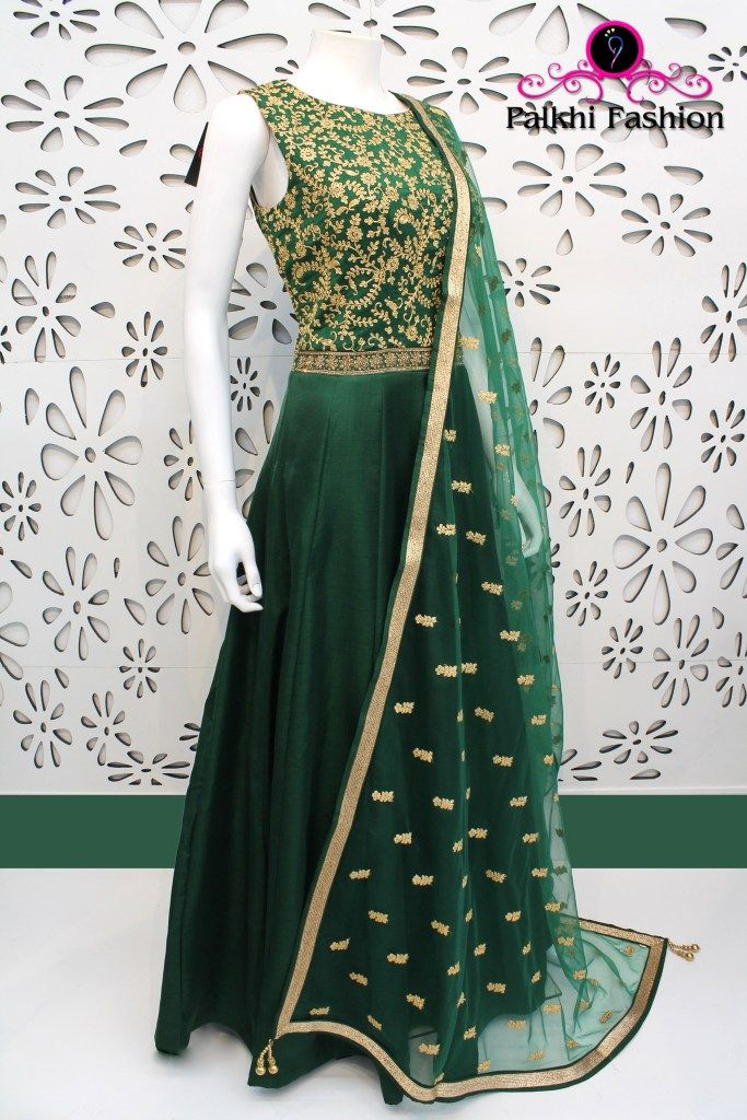 PalkhiFashion Exclusive Emerald Green Silk Outfit featuring Zari Embroidery