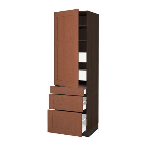 "SEKTION High cabinet w/door & 5 drawers - wood effect brown, Grimslöv medium brown, 24x24x80 "", Ma - IKEA"