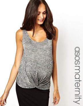 ASOS Maternity Exclusive Tank With Knot Detail In Shimmer