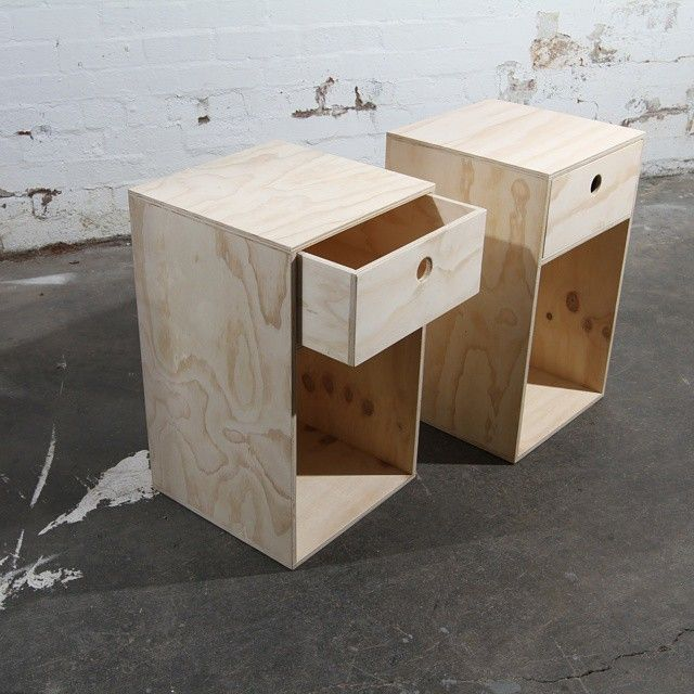 Bedside tables like butter objects of desire for Plywood bedside table