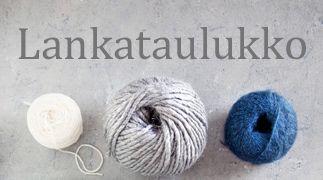 Lankataulukkoon on kerätty erilaisia suomalaisten ja ulkomaalaisten kehrääjien lankoja–klassikkoja ja uutuuksia. Taulukossa olevan silmukkatiheyden avull