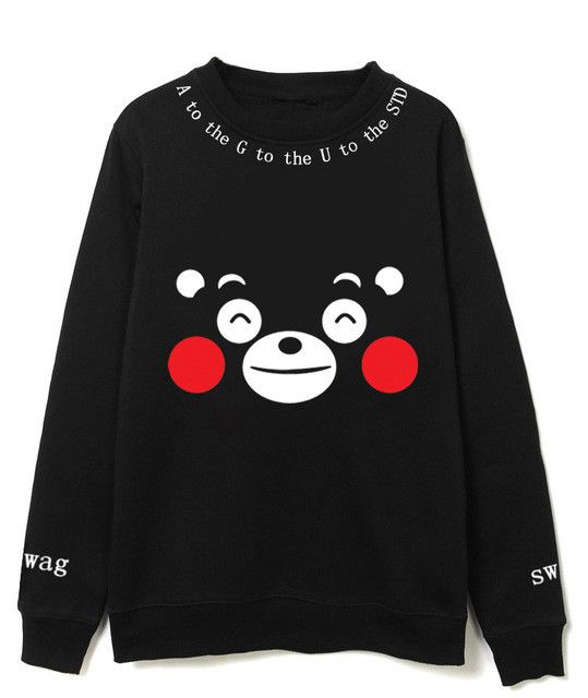 Kumamoto bear Smiley Bear A to the G to the U to the STD AGUST Swag black crewneck sweatshirt Sweater SQ12017 tqi
