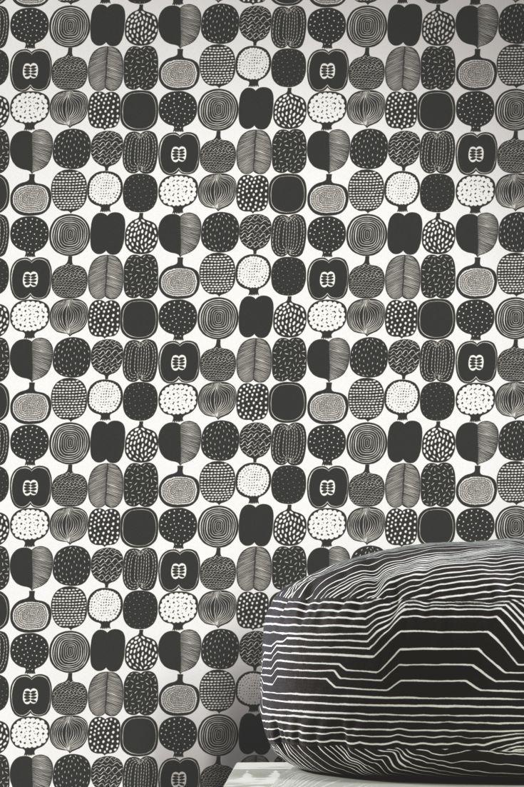 kompotti black white by marimekko wallpaper direct