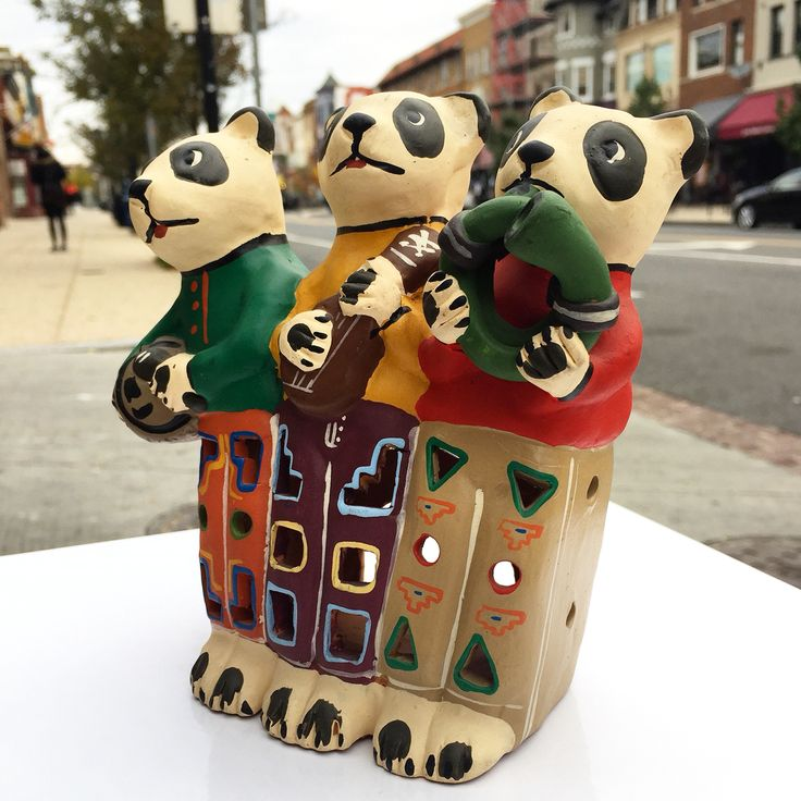 """The Panda Band"" - Terra cotta, handcrafted by Huamanchumo - 8x6"" - $39"