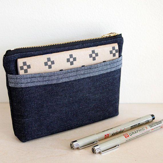 Denim Zipper Pouch with Side Pocket handmade by jennengStudio on Etsy