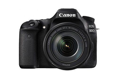 Canon EOS 80D Digital SLR Kit with EF-S 18-135mm f/3.5-5.6 Image Stabilization USM Lens (Black) (International Model) No Warranty