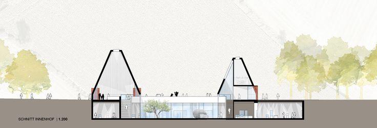 Neubau eines Eingangs- und Ausstellungsgebäudes für das Freilichtmuseum Molfsee – Landesmuseum für Volkskunde 1. Preis: Schnitt Innenhof, © ppp, breimann&brunn