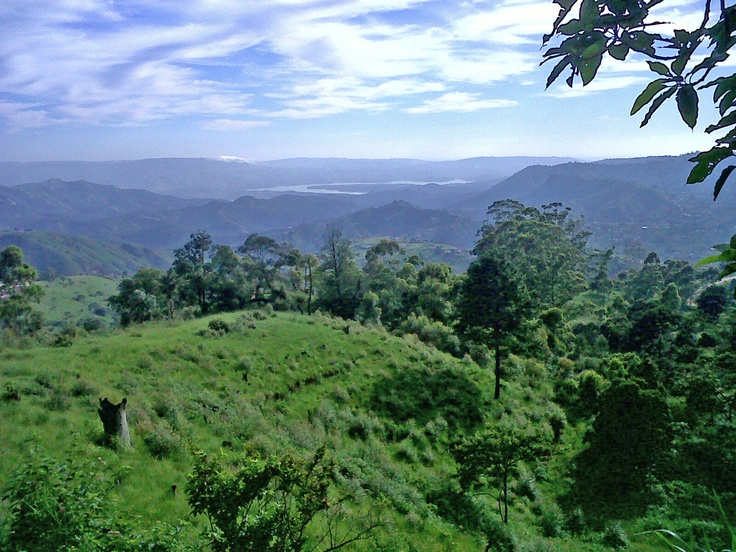 The view from Hillcrest, towards the Valley of 1000 Hills, KwaZulu-Natal, South Africa. You can see Nagle Dam in the distance as well. All of the earth at your feet so it seems ...