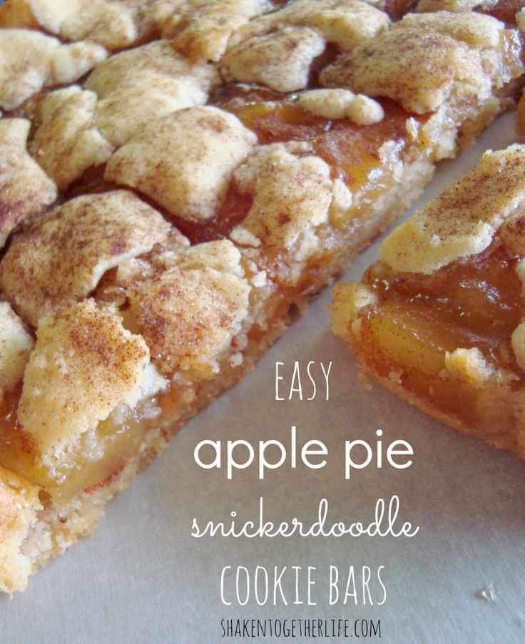 Easy Apple Pie Snickerdoodle Cookie Bars...a cookie base topped with rich, cinnamon-y apple pie filling and layered with sugar cookie bits and topped with with cinnamon sugar top