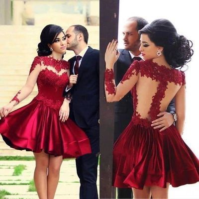 Lace Homecoming dress, Red prom dress, short prom dress, sexy prom dress…