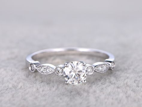 Vintage Moissanite Engagement Rings Diamond Promise Ring White Gold 14k/18k Art Deco Retro Milgrain