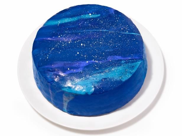 Galaxy Cake Recipe from Food Network | cake decorating, white frosting, gel food coloring, white food coloring, edible glitter