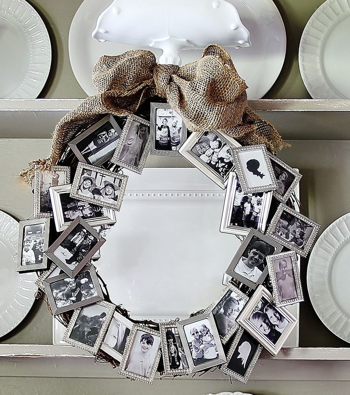 Love this idea! A bunch of dollar store small frames to create a meaningful wreath. Great anniversary, retirement or birthday gift.